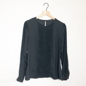 Ann Taylor Black Crochet Detail Blouse Size 8